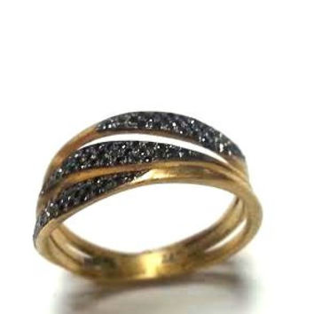 Black Diamonds Ring Gold Ring Engagement Ring Gold promise ring Anniversary Ring Birdal band eternity ring Unique diamond ring Multistone