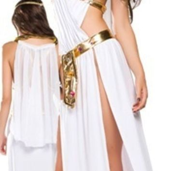 PEAPIX3 Sexy White Greek Goddess Costume Long Dress Halloween 3PCS = 1928076484
