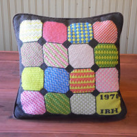 FREE SHIPPING - Needlepoint Pillow/Retro Pillow/1970's Pillow/Handmade Pillow/Square Pillow/Patchwork Pillow/Brown Pillow