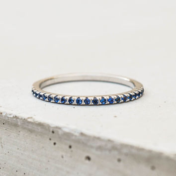 Eternity Ring - Silver with Sapphire Blue