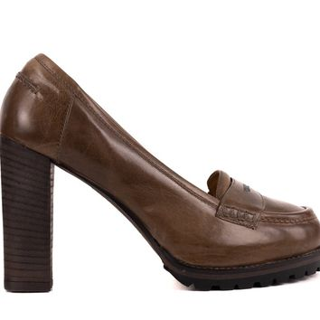 Brunello Cucinelli Womens Brown Leather Loafer Pumps