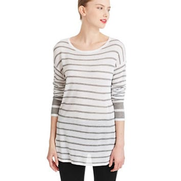 Dkny Pure Striped Dropped Shoulder Pullover