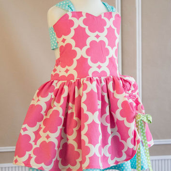 Build Your Own Poppy! - Sizes 24M 2T 3T 4T 5 6 7 8 - Baby Girls Custom Boutique Clothing -Pink Fuscia Blue Green Dot - Peek-a-Boo Dress