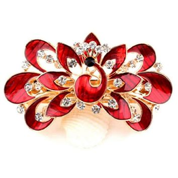 Beautiful Women Girl Cute Colorful Shinning Crystal Rhinestones Peacock Open Screen Drop Hairpin Hair Clip Jewelry