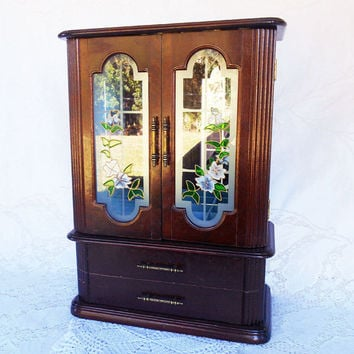 Armoire Wood Jewelry Box,Tall Wood Jewelry Box, Wardrobe Style Jewelry Box, Stained Glass Front, Vintage Jewelry Box