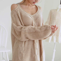Warm Beige Off The Shoulder Chunky Knitted Sweater