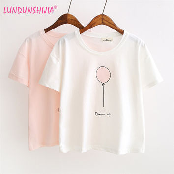 LUNDUNSHIJIA 2017 Summer T-shirts For Women Fashion Tee Top Lovely Balloon Printed Short Sleeve Female T-shirt Women Tops 7547