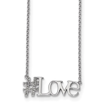 Sterling Silver Rhodium-plated CZ 18in Hashtag Love Necklace QG4382