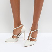 Dune London Bridal Studded Court Shoe with Pointed Toe and Caging Detail at asos.com