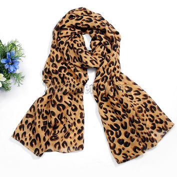 Fashion Women scarves Chiffon Leopard Print Mocha Shawl Print Scarf Evening  s Best Gift for Ladies cachecol feminino