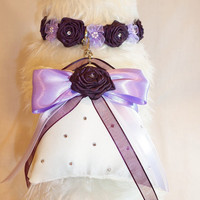 2 PC Swarovski Crystal Floral Dog Collar and Ring Bearer Pillow Set Match Your Wedding Colors