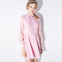 Pink Collared Lantern Sleeves Beaded Dress