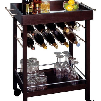 Bar Cart, Mirror Top, wine rack