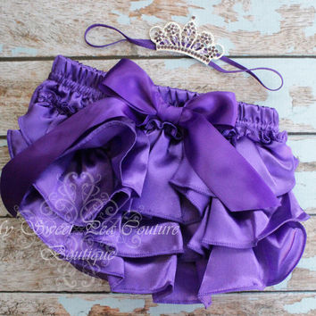 Purple Amethyst Satin Ruffle Bloomer Set- Headband & Bloomers- Baby Girl Outfit- Newborn Outfit- Cake Smash Outfit- Aquarius-Pisces