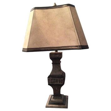 Pre-owned Architectural Antique Wooden Pillar Lamp