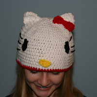 Hello Kitty Crochet Hat - Newborn to Adult Sizes
