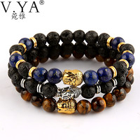 Famous Brand Lion Buddha Bracelets Bangles for Women Men Natural Stone Jewelry Female Male Nomination Pulseras Mujer