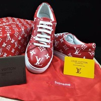 Best Online Sale Supreme x Louis Vuitton LV Red White Sport Sneakers Fashion Casual shoes