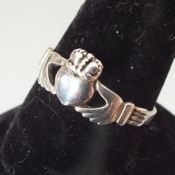 Sterling Silver Love, Loyalty, Friendship Claddagh Ring, Made in Ireland, Large Size 11, Precious Metal Vintage Jewelry, Free Shipping