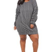 Ruched Sleeve Sweat Dress Plus Size