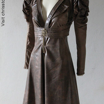 Steampunk Jacket Bolero Leather Gothic - Vest and Bolero - Andru Chrisst Unique Fashion
