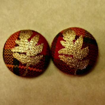 Fabric Button Earrings- Gold Leaves and Plaid
