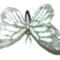 Large White Feathered Silver Glitter Butterfly Hair Clip Barrette Feather Hair Clip Butterfly Hair Accessory Bride Bridal We...