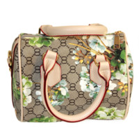 Khaki Monogram Handbag With Bloom Print