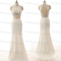 White/Ivory Long Prom Dress,Handmade Crystal/Beading Chiffon Formal Evening Gowns Mermaid Wedding Party Dress