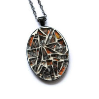 Mosaic Necklace, Oval Pendant