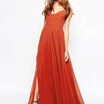 Fallen Star Layered Maxi Dress in Bold Ginger