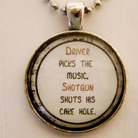 Driver Picks The Music Necklace. Dean Winchester Quote, Supernatural Inspired. 18 Inch Ball Chain.