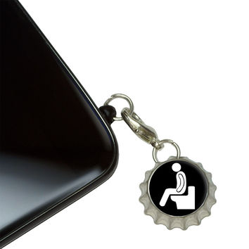 Poop - Pooping Toilet Mobile Bottlecap Phone Charm