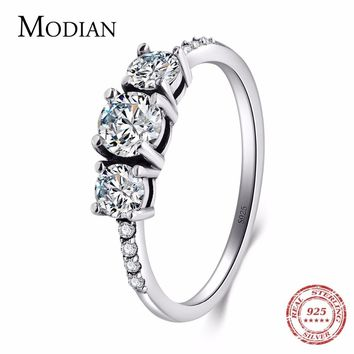 Modian 2018 New Fashion Real 925 Sterling Silver Wedding Rings Classic 5A CZ Stackable Party Ring For Women Engagement Jewelry