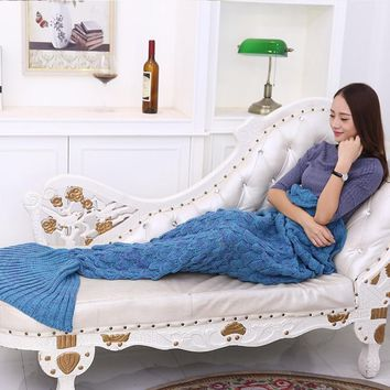 Mermaid Plaid Quilt Mermaid Tail Blanket fleece throw plush plaid On sofa Bed fluffy bedspread cover bed knit Mermaid Blanket