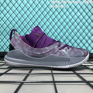 HCXX B305 Under Armour Curry 5 Actual Combat Basketball Shoes Purple Grey