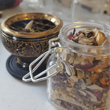 Sacred Smudge Jar ~ Energy-Cleansing Smudging Blend ~ whole dried herbs, resins and woods for clearing negativity in your space