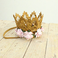 Embellished floral gold crown Girl Baby Flower Crown Princess keepsake Lace crown newborn photography prop cake smash children birthday hat