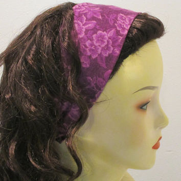Purple Roses Reversible Wide Fabric Headband Purple Headband with Flowers