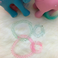 Wholesale 90s 4 pcs Baby Pink and Baby Blue Color Tattoo Beaded Chokers and Bracelet Stretch Set. 90s Vintage Deadstock. Club Kids