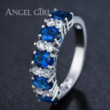 Angel Girl Valentine's Day Gift Austrian Blue Crystals Jewelry Wedding Engagement ring For Women silver colour Female Ring