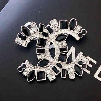 Chanel Women Fashion CC Logo Crystal Diamonds Brooch