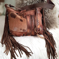 Milky brown distressed leather bag few tones fringe fringed hobo tribal bohemian boho army purse sweet smoke free people  bag moroccan