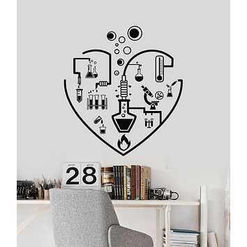 Vinyl Wall Decal I Love Chemistry Lab School Laboratory Glassware Teen Room Stickers Mural (g1678)
