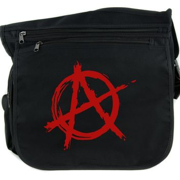 Red Anarchy Cross Body Messenger School Bag Punk Rock Oi Goth