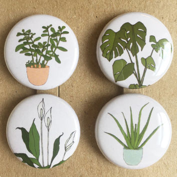 houseplant badges (pinback buttons) set of 4