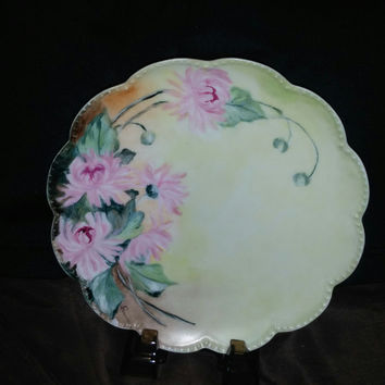 Haviland Limoges Hand Painted Pale Yellow Plate With Pink Flowers, Green Leaves and Scalloped Gilded Rim