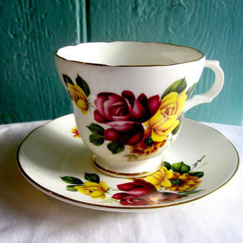 English Rose Vintage Teacup and Saucer by Crown by TheDorothyDays