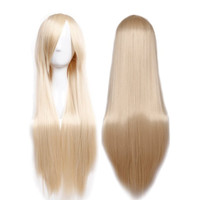 "80cm(32"") Women Long Straight Hair Wig Fancy Cosplay Anime Party Costume Dress Synthetic Full Wigs (Linen Blonde)"