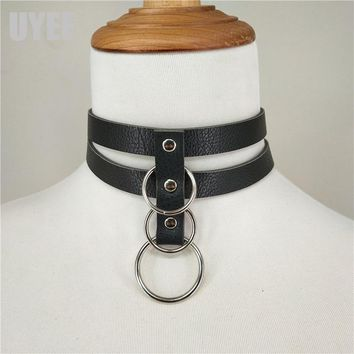 UYEE Dropshipping Sexy Harness Harajuku Handmade Choker Punk Leather Collar Belt Double Metal Ring Neck Garter Club Party LN-030